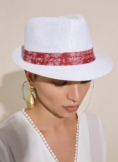 Morhipo Beach Şal Desen Şeritli Hasır Şapka Ekru